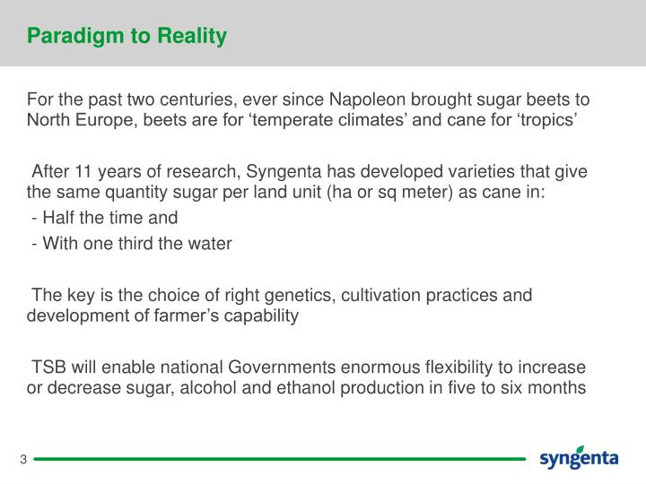 Paradigm to Reality