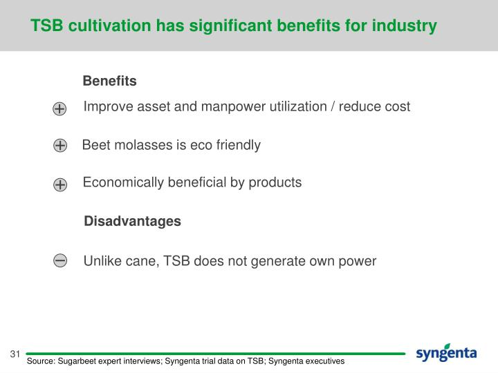 TSB cultivation has significant benefits for industry