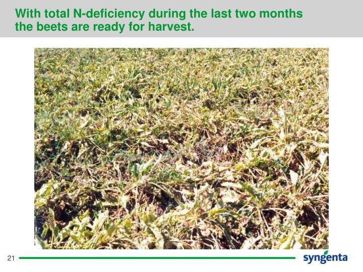 With total N-deficiency during the last two months