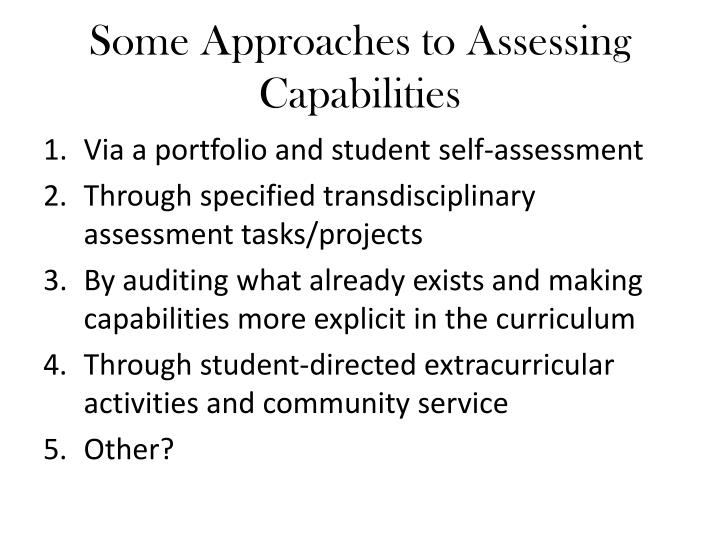 Some Approaches to Assessing Capabilities
