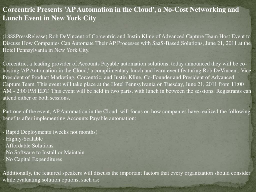 Corcentric Presents 'AP Automation in the Cloud', a No-Cost Networking and Lunch Event in New York City