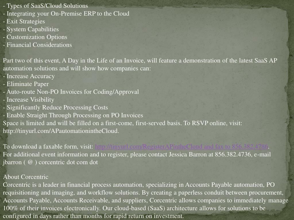 - Types of SaaS/Cloud Solutions