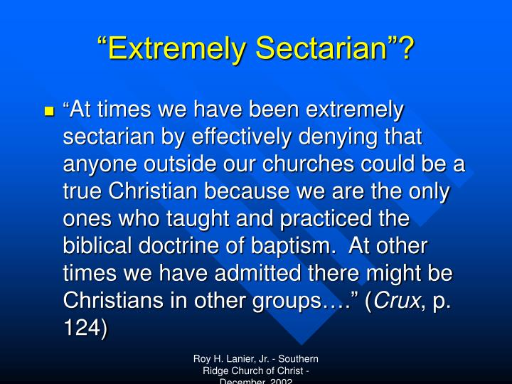 """""""Extremely Sectarian""""?"""