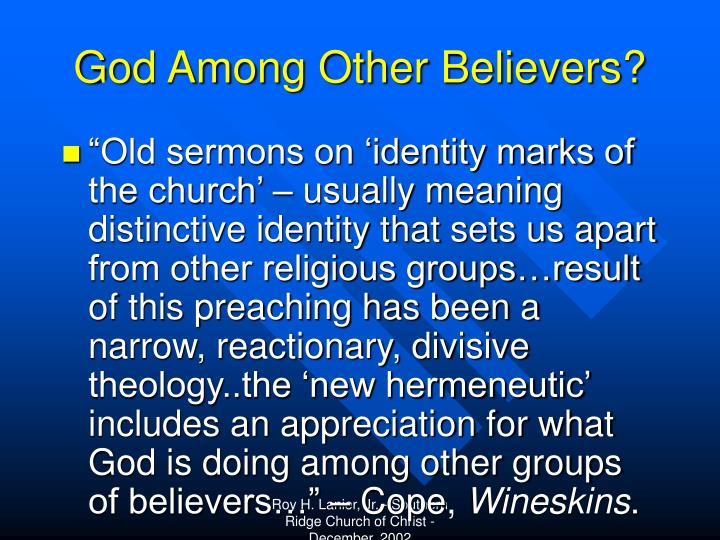 God Among Other Believers?