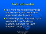 truth is knowable