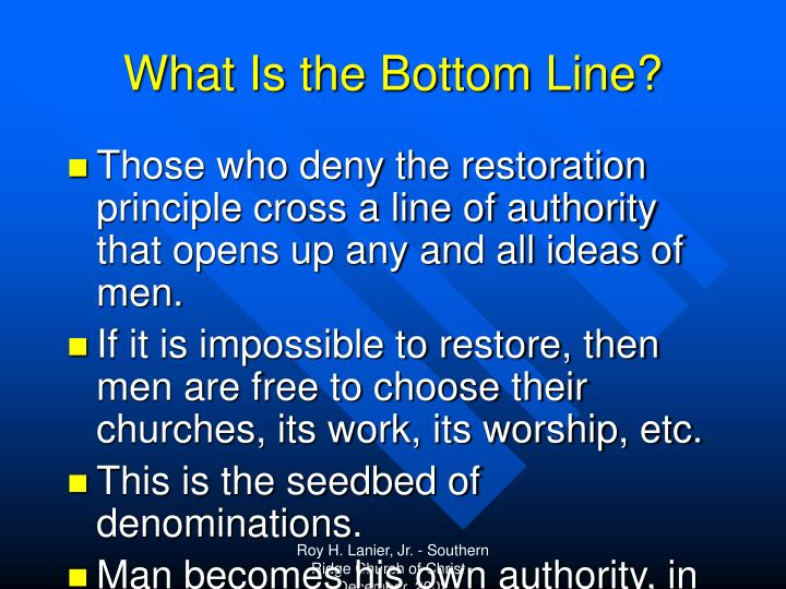 What Is the Bottom Line?