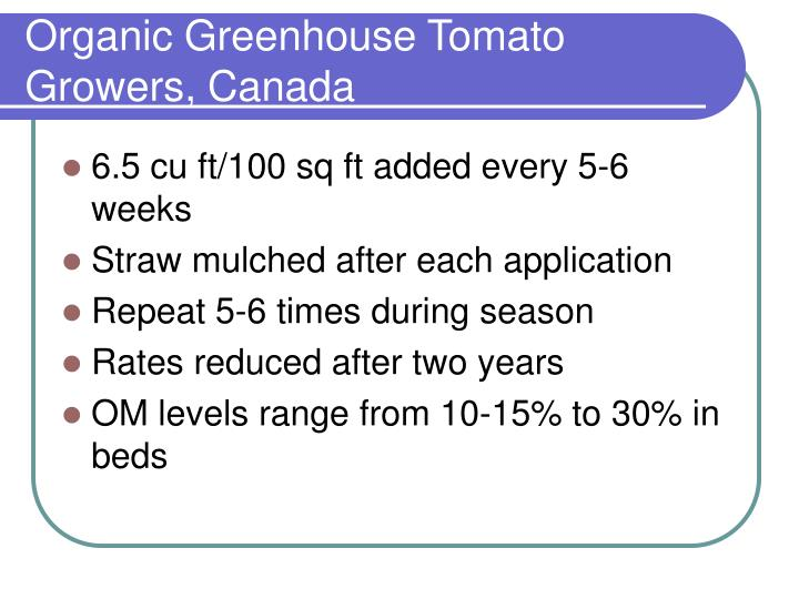Organic Greenhouse Tomato Growers, Canada