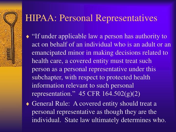 HIPAA: Personal Representatives