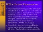 hipaa personal representatives
