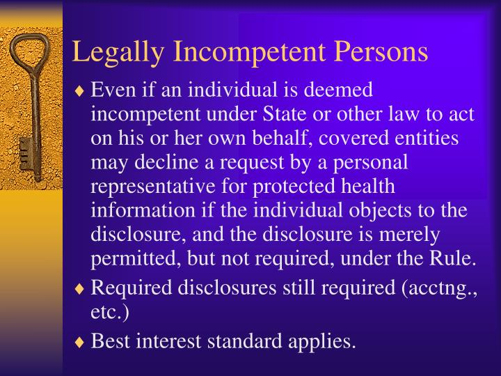 Legally Incompetent Persons