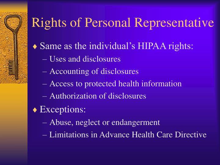 Rights of Personal Representative