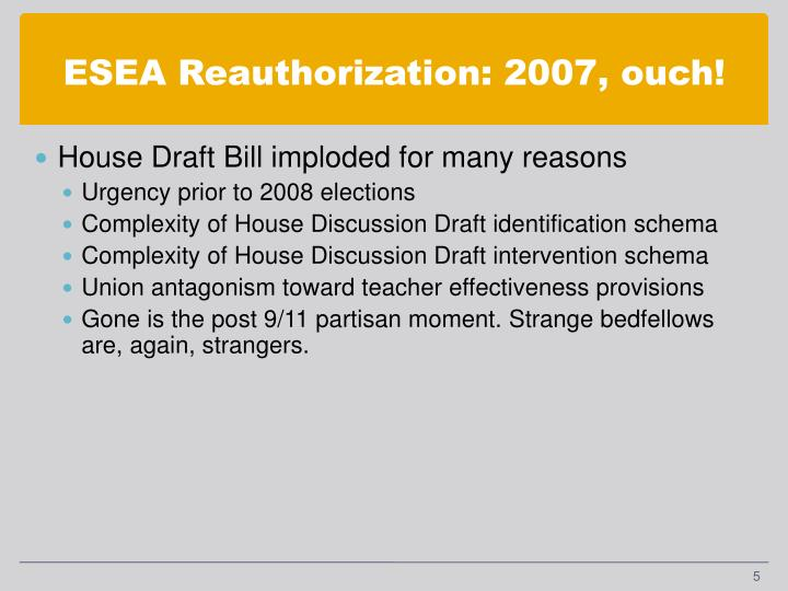 ESEA Reauthorization: 2007, ouch!
