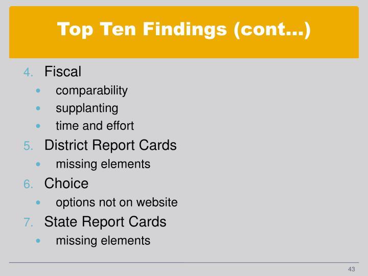 Top Ten Findings (cont…)