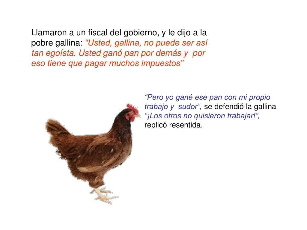 Llamaron a un fiscal del gobierno, y le dijo a la pobre gallina: