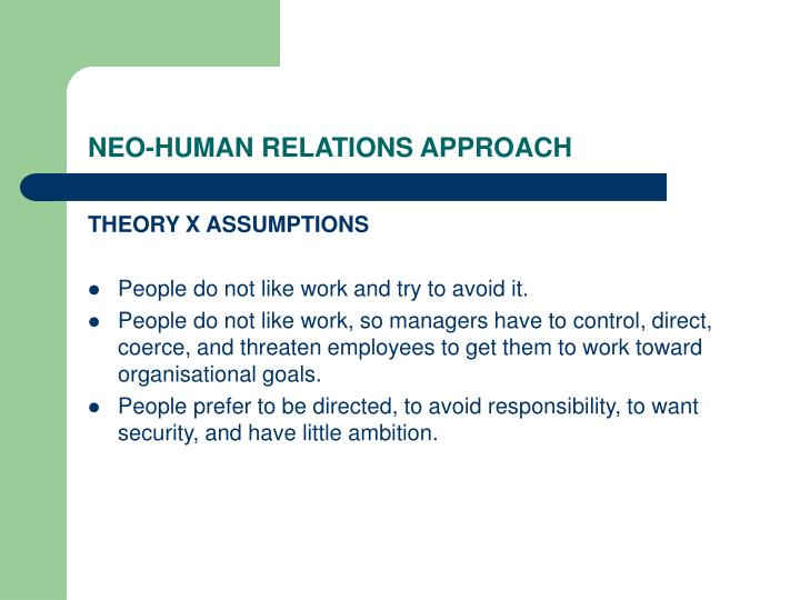 NEO-HUMAN RELATIONS APPROACH