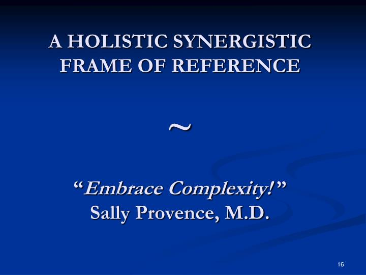A HOLISTIC SYNERGISTIC FRAME OF REFERENCE