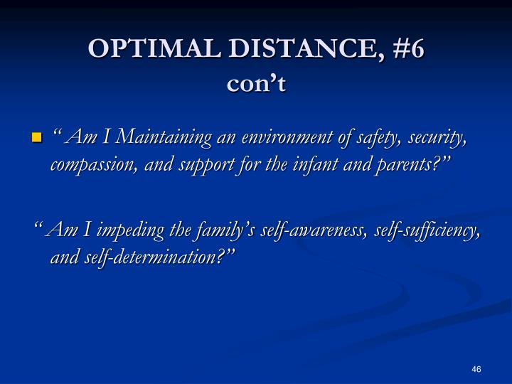 OPTIMAL DISTANCE, #6