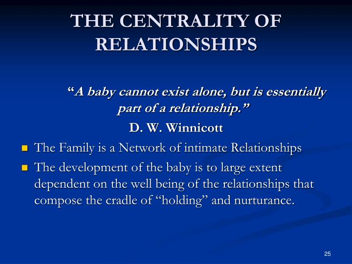 THE CENTRALITY OF RELATIONSHIPS