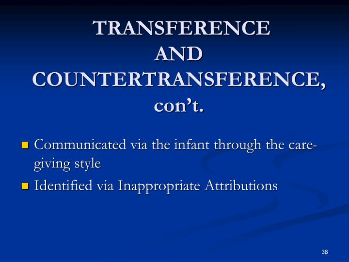 transference and countertransference Humera quddoos explains why transference provides a rich and fertile field for  therapeutic work therapeutic space has three fields within it:.