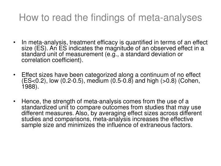 How to read the findings of meta-analyses