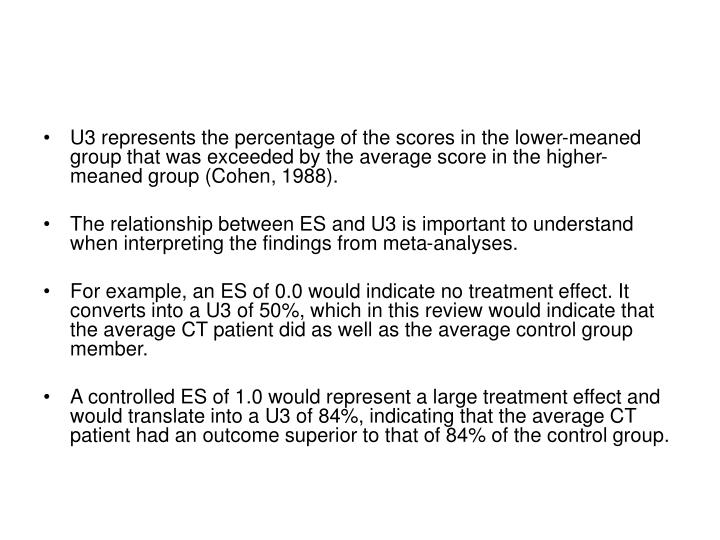 U3 represents the percentage of the scores in the lower-meaned group that was exceeded by the average score in the higher-meaned group (Cohen, 1988).
