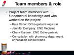 team members role