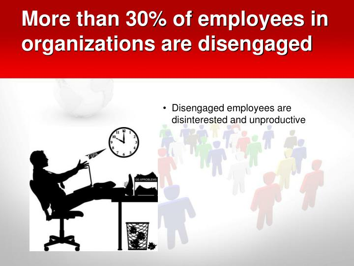 More than 30% of employees in organizations are disengaged