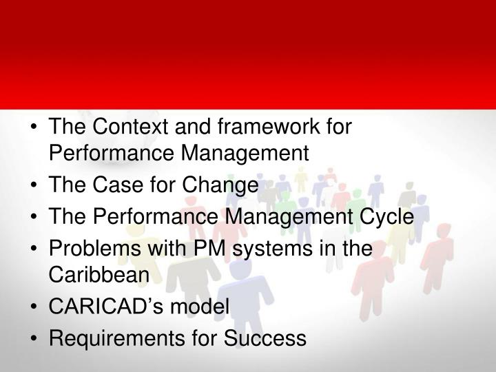 The Context and framework for Performance Management