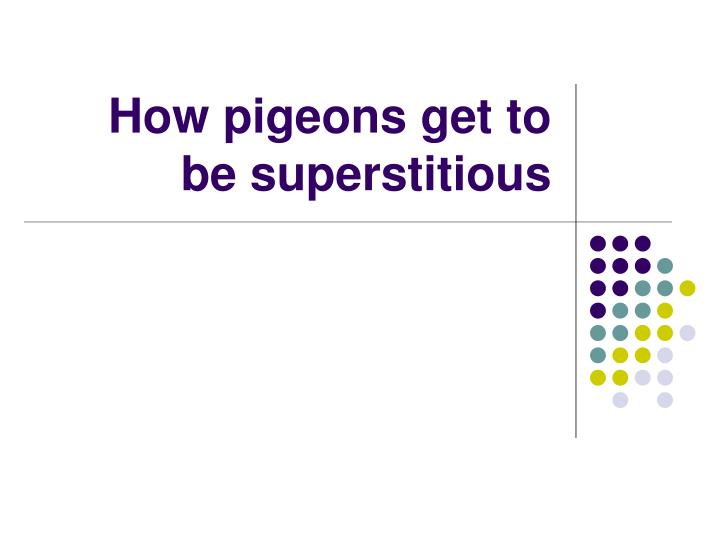 How pigeons get to be superstitious