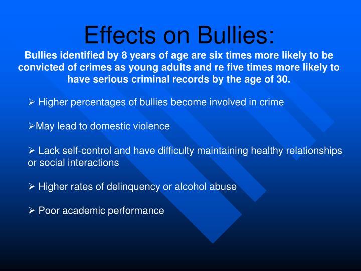 Effects on Bullies: