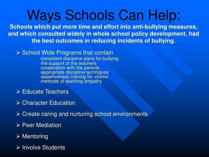 Ways Schools Can Help: