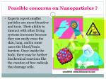possible concerns on nanoparticles
