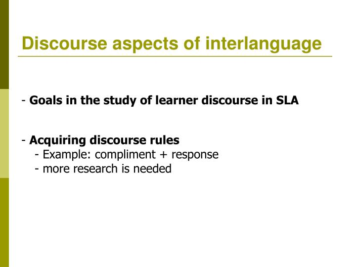 Discourse aspects of interlanguage