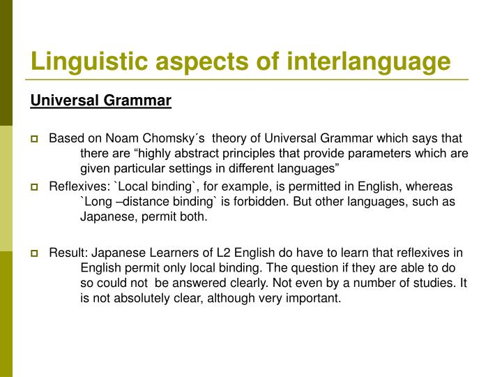 Linguistic aspects of interlanguage