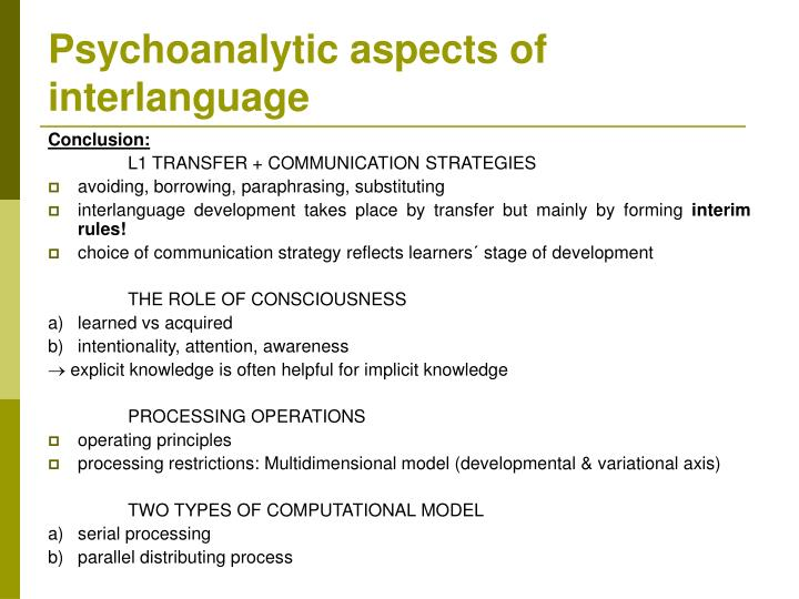 Psychoanalytic aspects of interlanguage