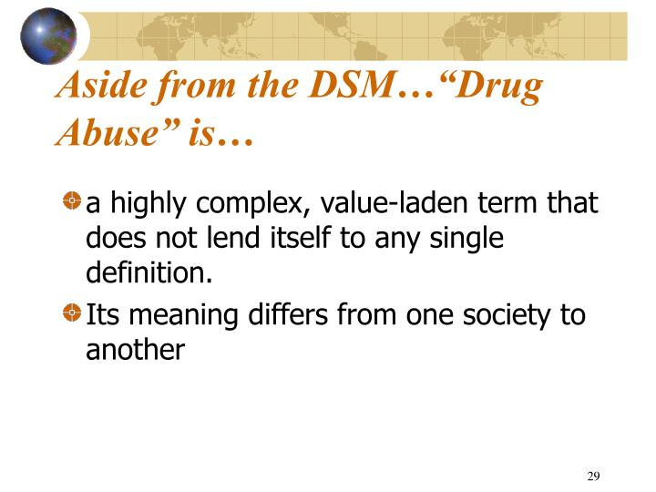 "Aside from the DSM…""Drug Abuse"" is…"