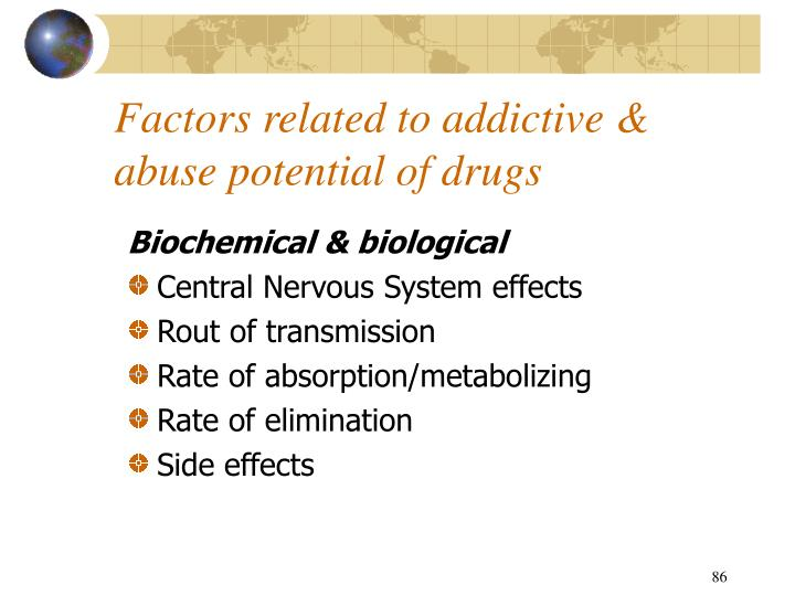 Factors related to addictive & abuse potential of drugs