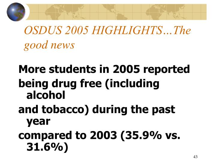 OSDUS 2005 HIGHLIGHTS…The good news