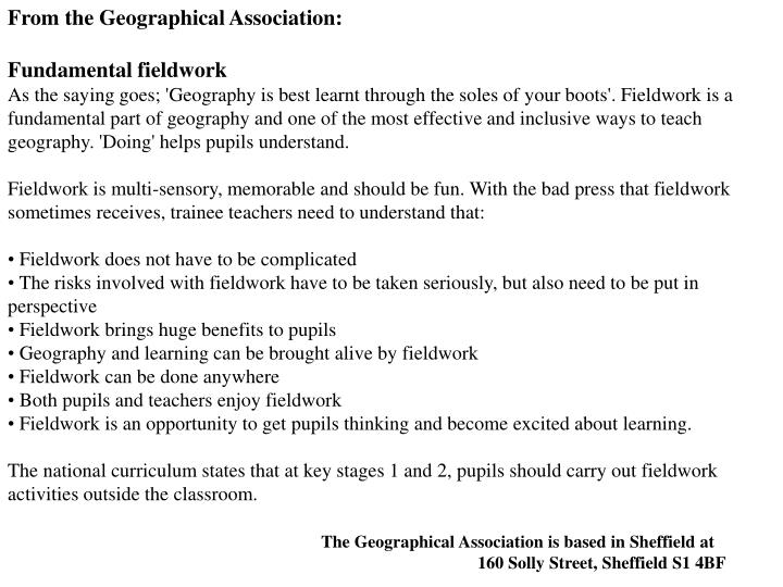 From the Geographical Association: