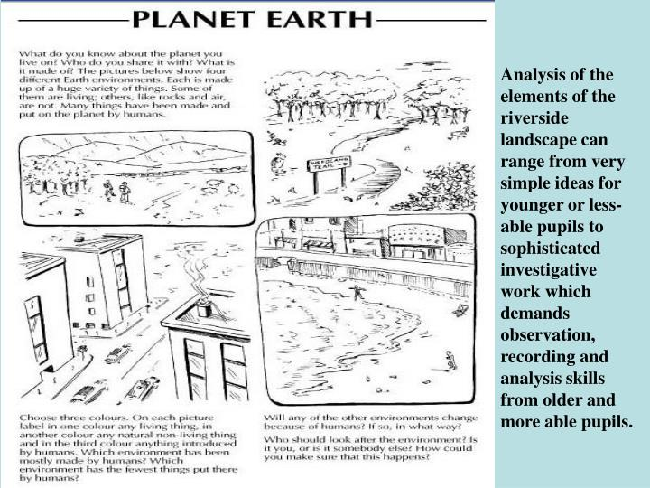 Analysis of the elements of the riverside landscape can range from very simple ideas for younger or less-able pupils to sophisticated investigative work which demands observation, recording and analysis skills from older and more able pupils.