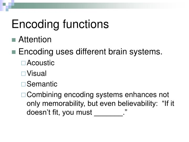 Encoding functions
