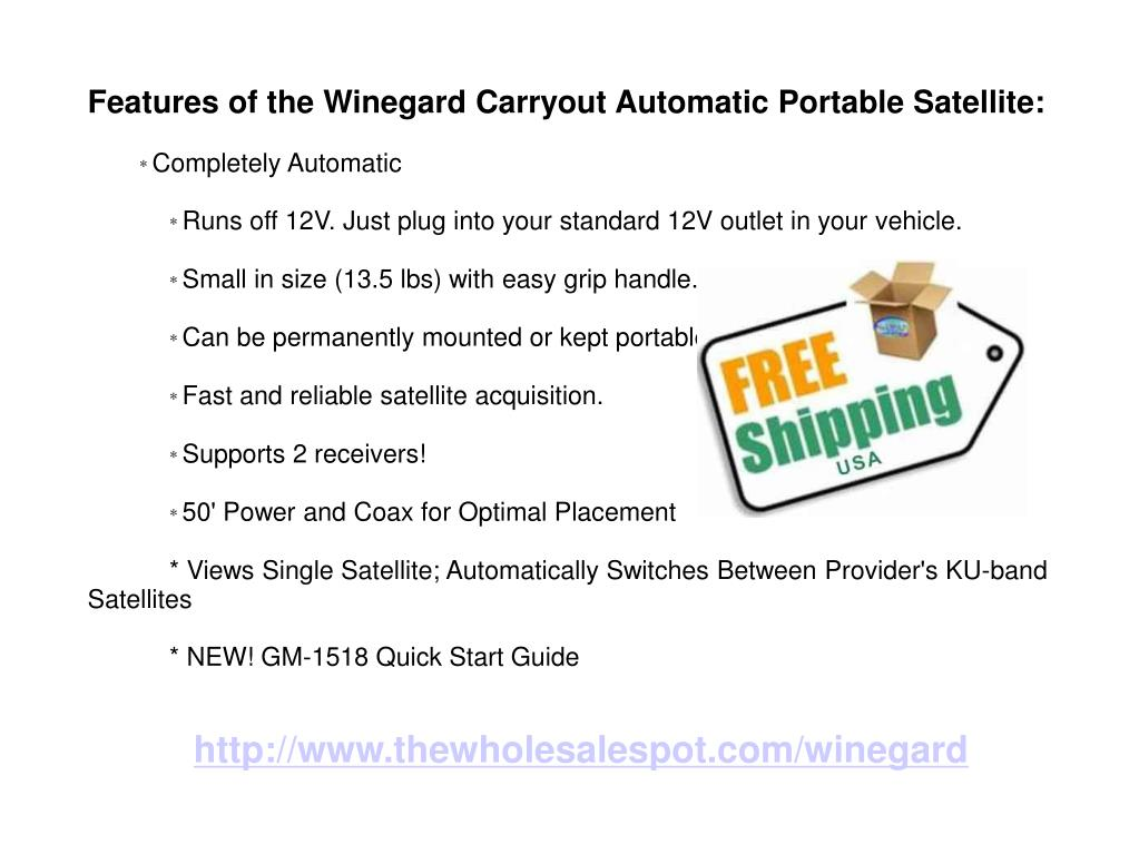 Features of the Winegard Carryout Automatic Portable Satellite: