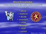 word knowledge these words have the letter c pronounced s before e or i