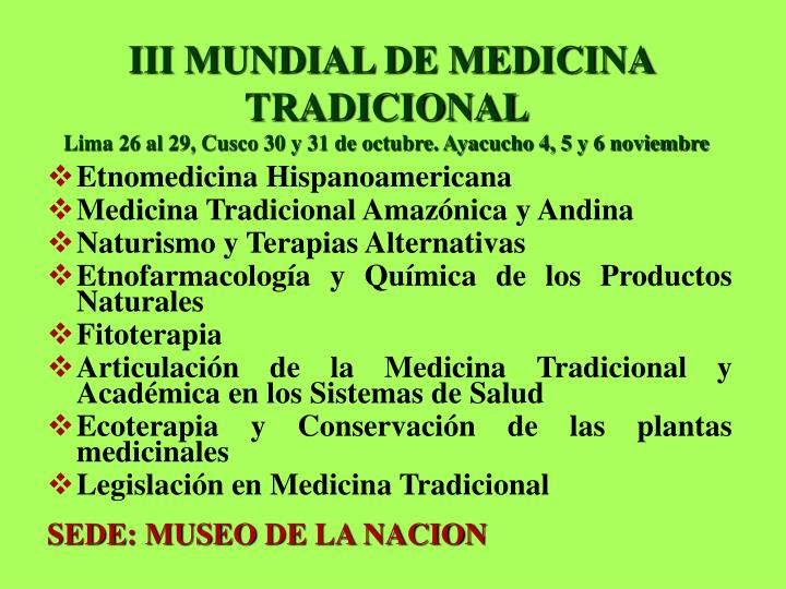 III MUNDIAL DE MEDICINA TRADICIONAL