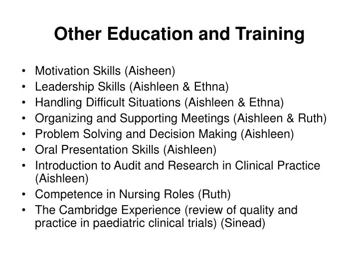 Other Education and Training