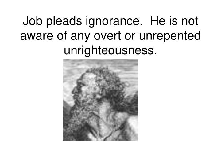 Job pleads ignorance.  He is not aware of any overt or unrepented unrighteousness.