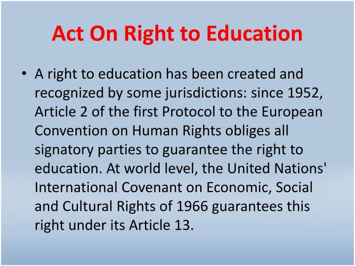 Act On Right to Education