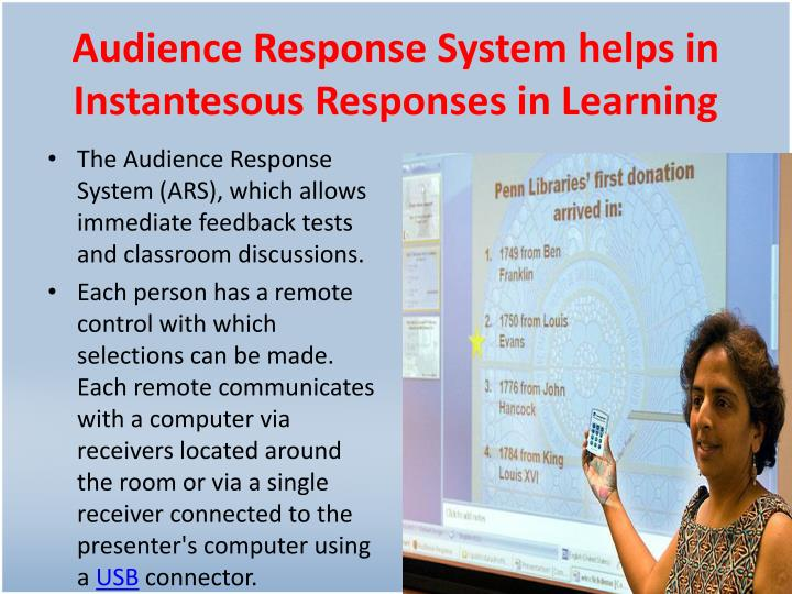 Audience Response System helps in Instantesous Responses in Learning
