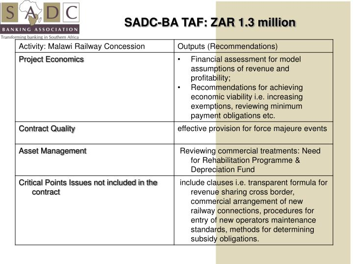 SADC-BA TAF: ZAR 1.3 million