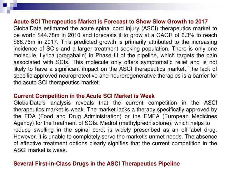 Acute SCI Therapeutics Market is Forecast to Show Slow Growth to 2017